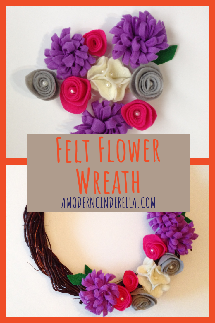 Felt Flower Wreath from AMODERNCINDERELLA.COM