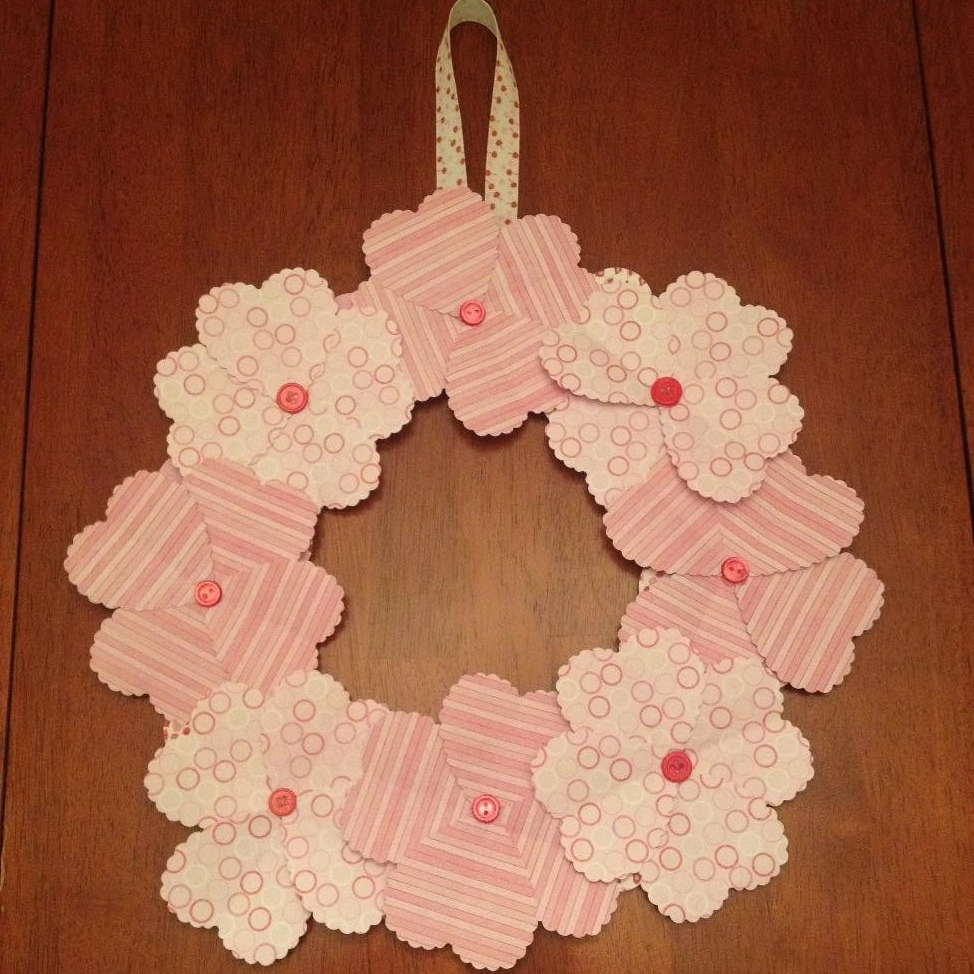 Paper Heart Flower Wreath from AMODERNCINDERELLA.COM