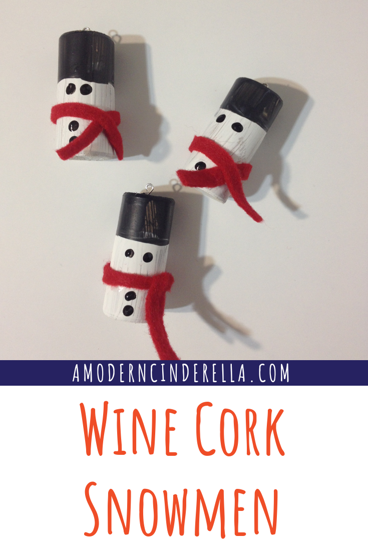 Wine Cork Snowmen Ornament Tutorial from AMODERNCINDERELLA.COM
